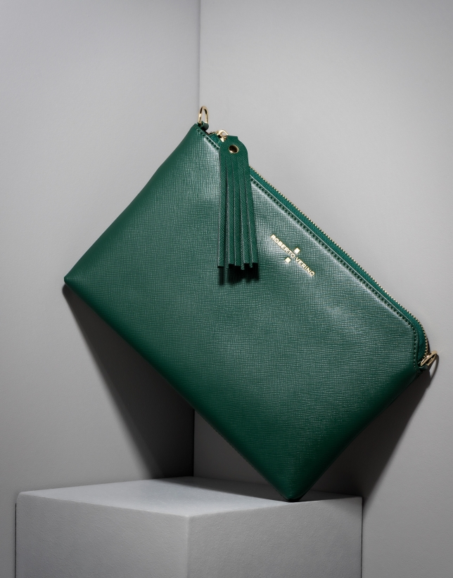 Clutch Lisa saffiano verde oscuro