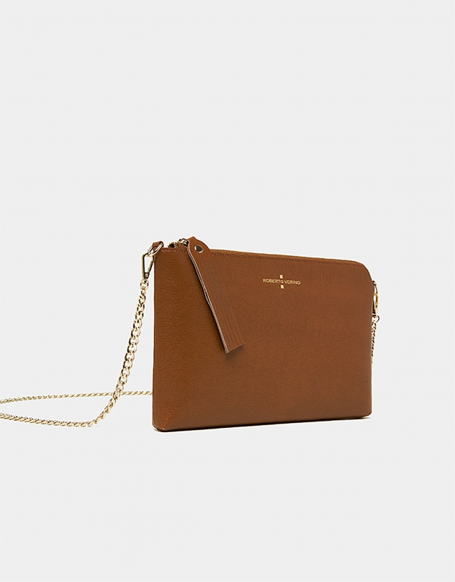 Brown Saffiano leather Lisa Clutch