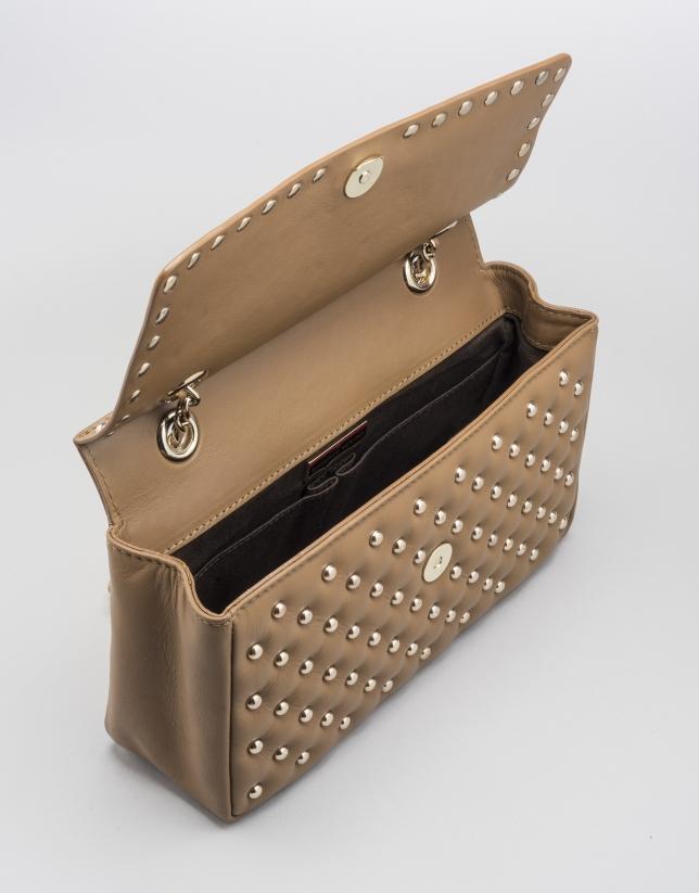 Caramel Ghauri bag with metallic appliqué