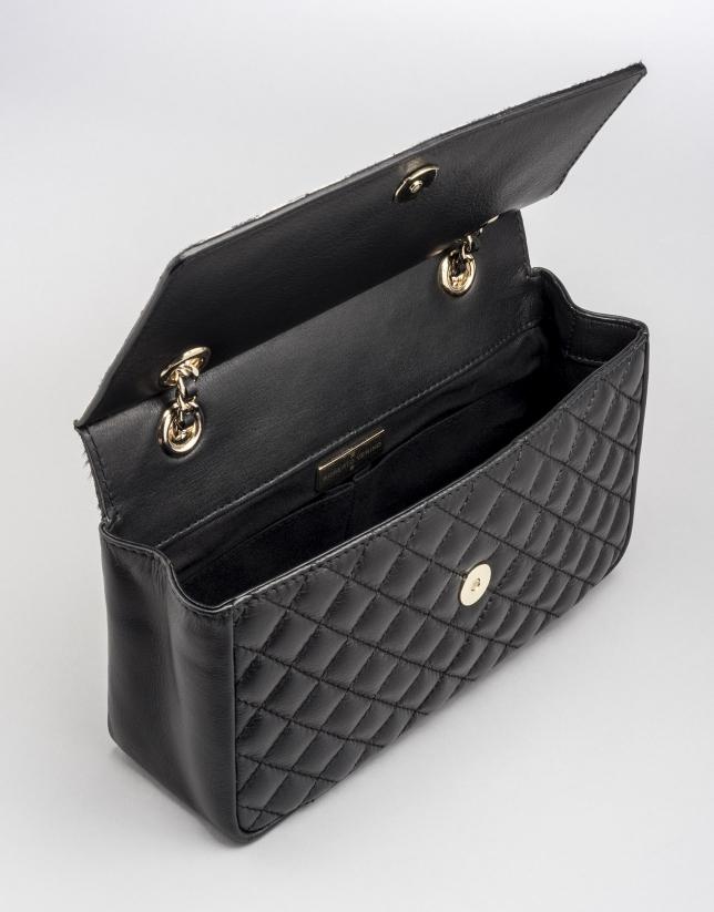 Black Ghauri shoulder bag with fur flap
