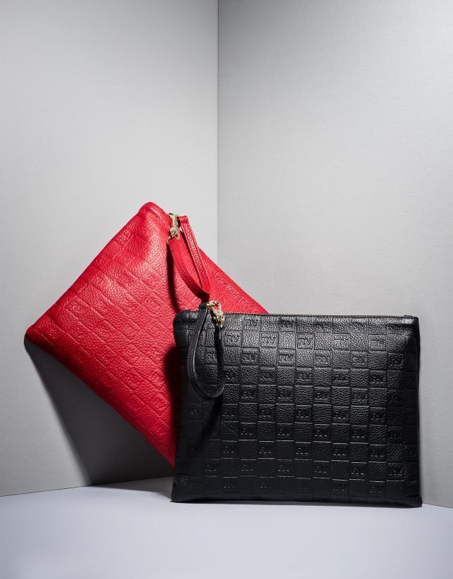Black RV embossed leather bag
