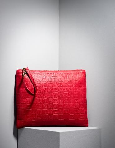 Bolso sobre piel grabada RV rojo