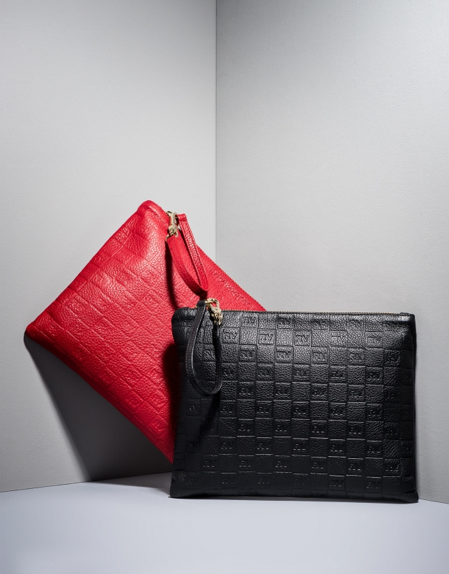 Red RV embossed leather bag