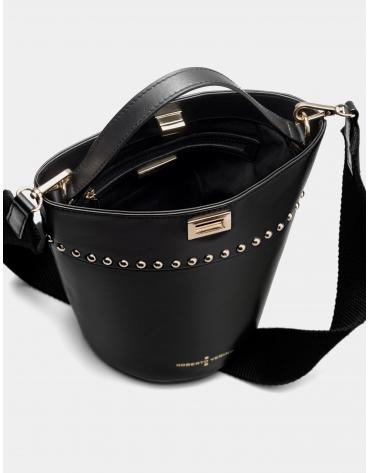Small black leather Candle shoulder bag
