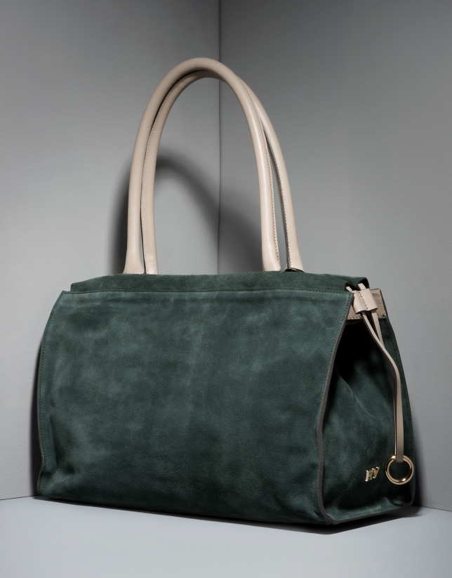 Green leather Journal handbag