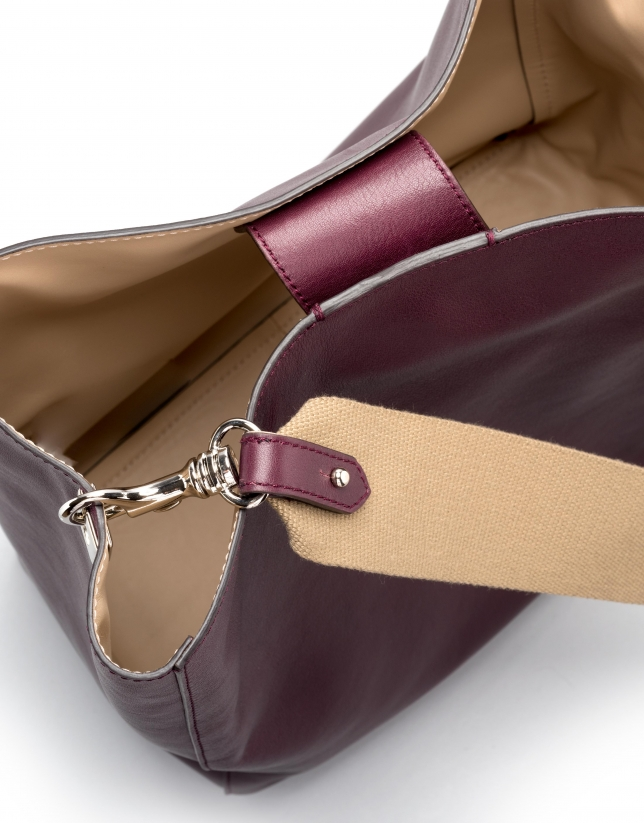 Burgundy leather Montparnasse shopping bag