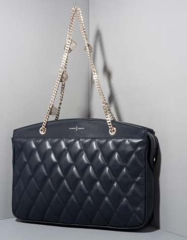 Dark blue quilted leather Monnaie shoulder bag