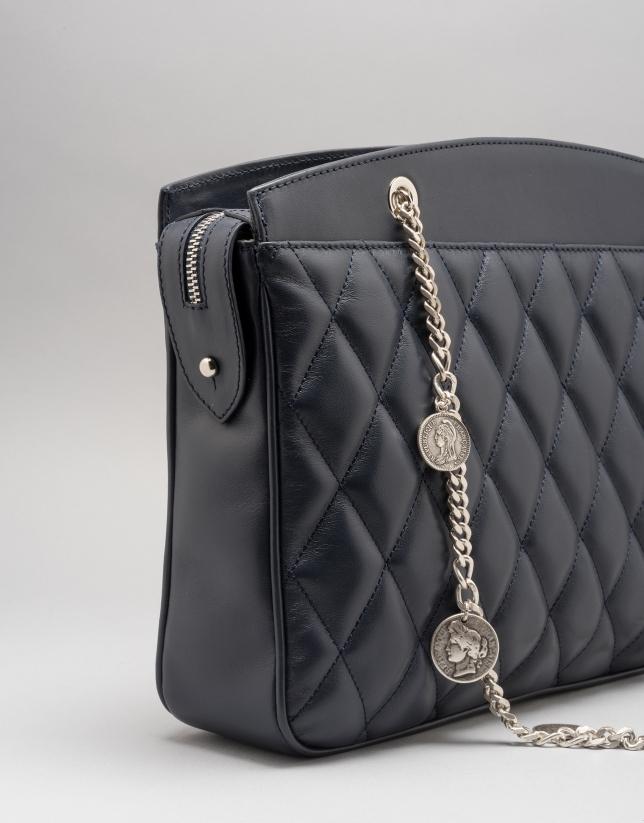 Dark blue quilted leather Monnaie shoulder bag