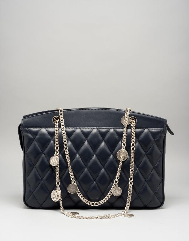 Bolso shoulder Monnaie piel acolchada azul oscuro