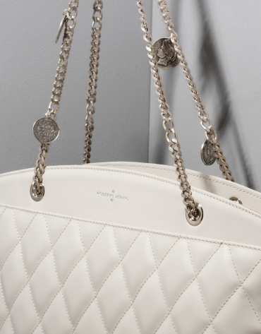 Ice colored quilted leather Monnaie shoulder bag