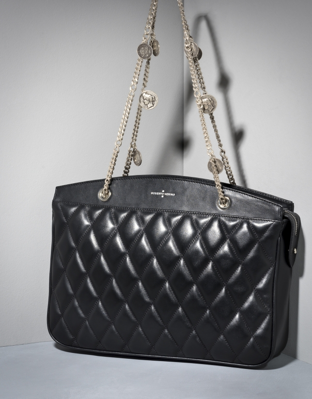Black quilted leather Monnaie shoulder bag