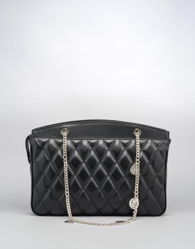 Black quilted leather Monnaie shoulder bag