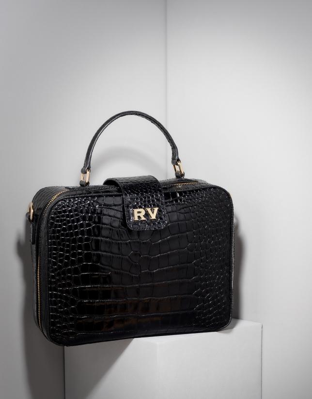 Bolso maletín Emma en piel coco negro