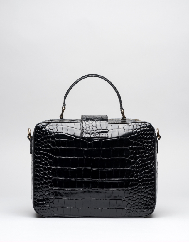 Black alligator leather Emma briefcase