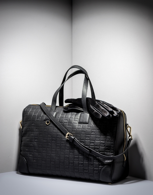 Black RV embossed leather Uve bowling bag