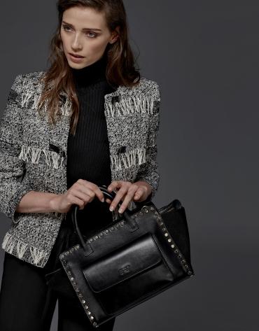 Black leather Pompidou tote bag