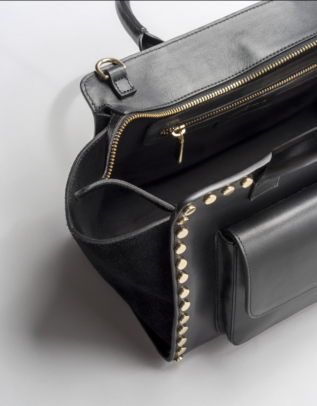 Black leather Pompidou tote bag