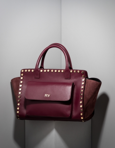 Burgundy leather Pompidou tote bag