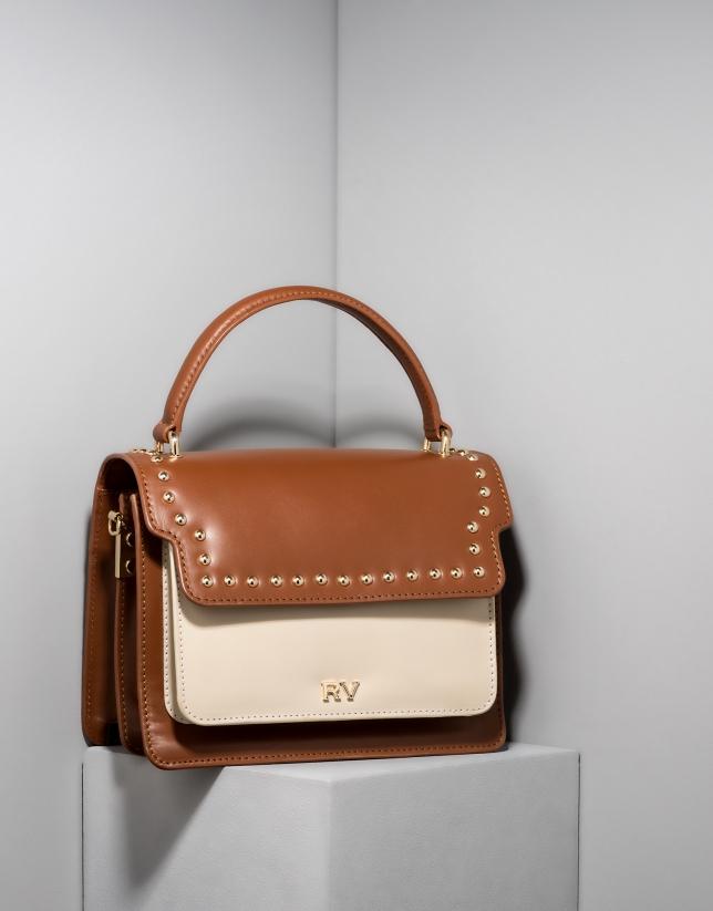 Camel and ivory leather Naomi handbag