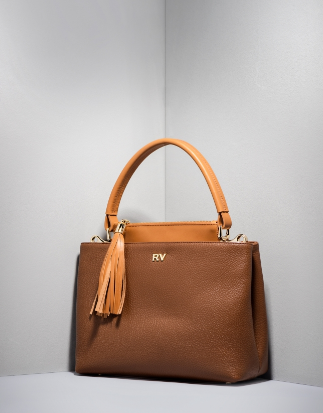 Brown Keops mini leather tote bag
