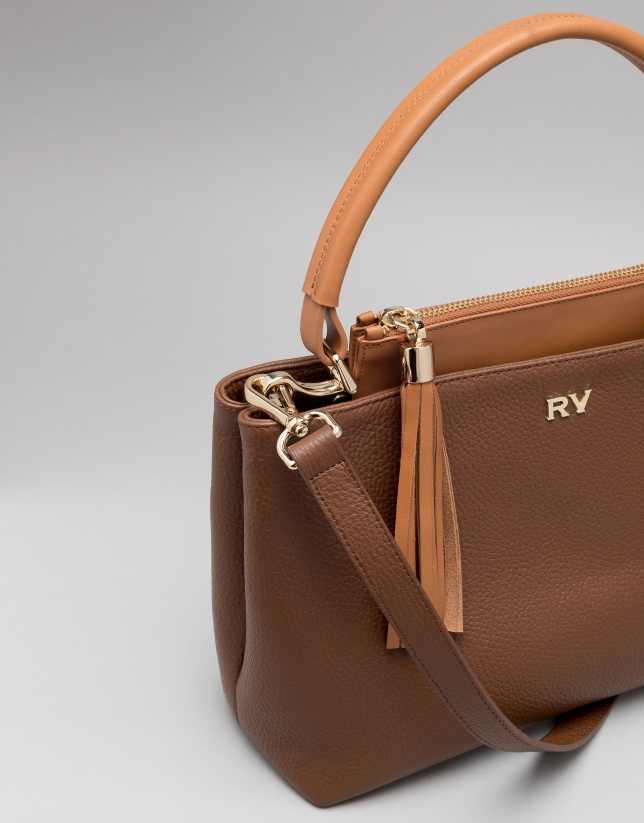 Brown Keops mini leather tote bag