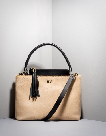 Beige and black Keops mini leather and fur tote bag