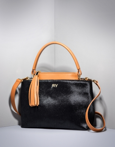 Black and camel Keops mini leather and fur tote bag