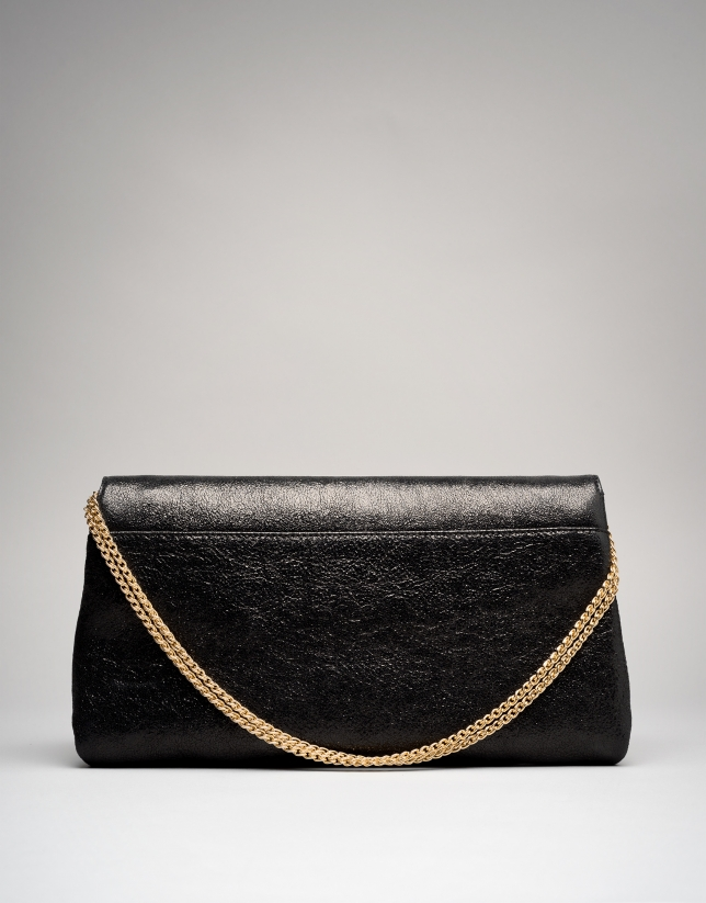 Black leather Tiffany clutch