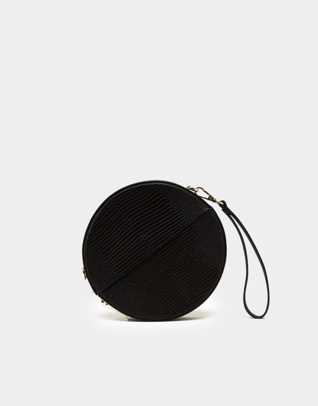 Black velvet and leather Cookie round bag