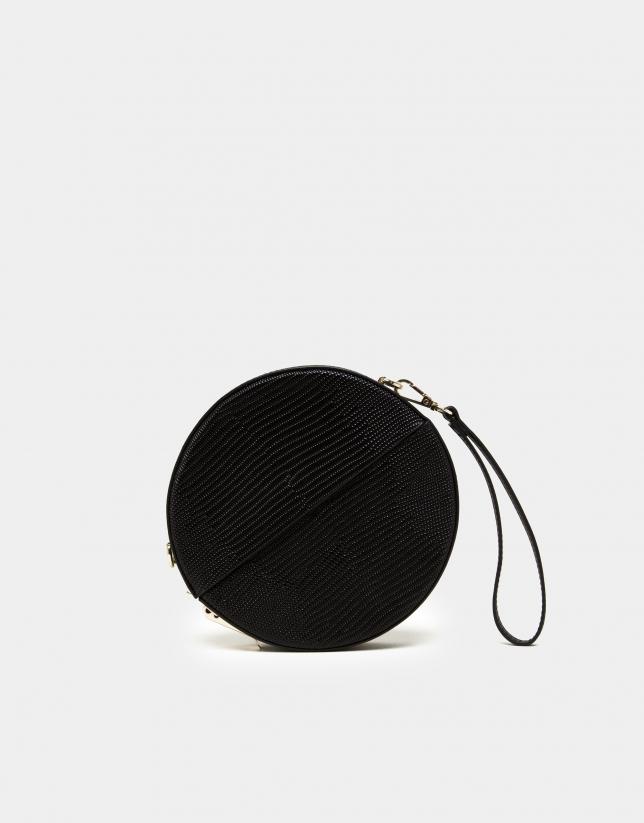Bolso redondo Cookie en piel y terciopelo negro