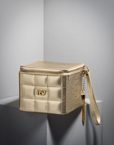 Chiaro Gold leather Kursaal cube bag