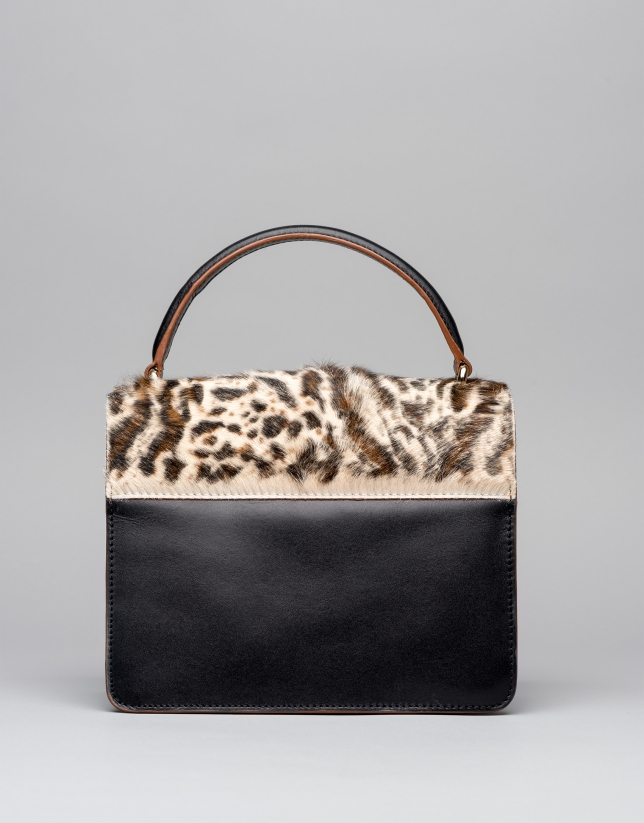 Black leather Naomi handbag with animal print flap