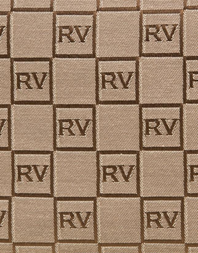 Bandoulière Bonjour en toile personnalisée RV beige