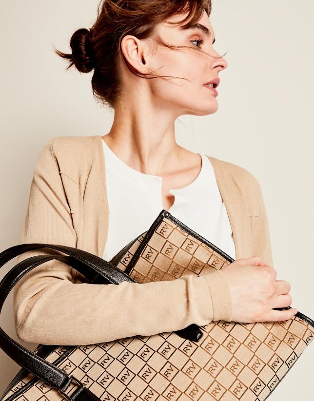 Beige RV canvas Bonjour shoulder bag