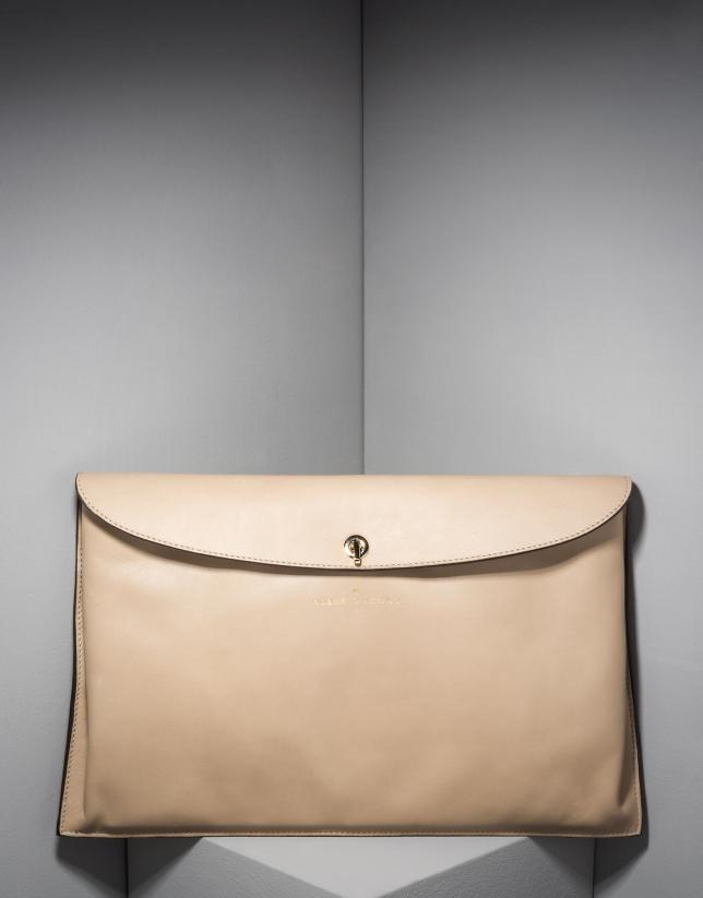 Bolso sobre Ledix en piel beige