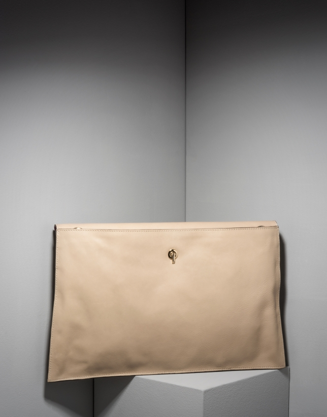Sac pochette Ledix en cuir beige