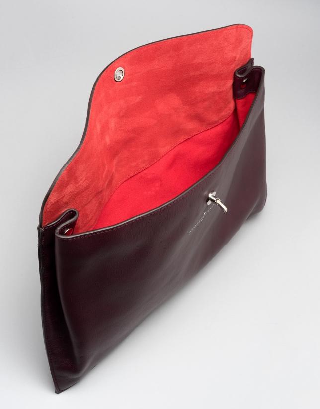 Maroon leather bag Ledix