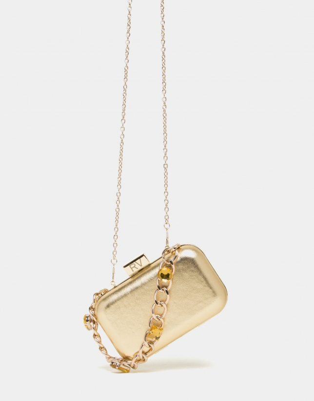 Chiaro gold leather clutch Bird