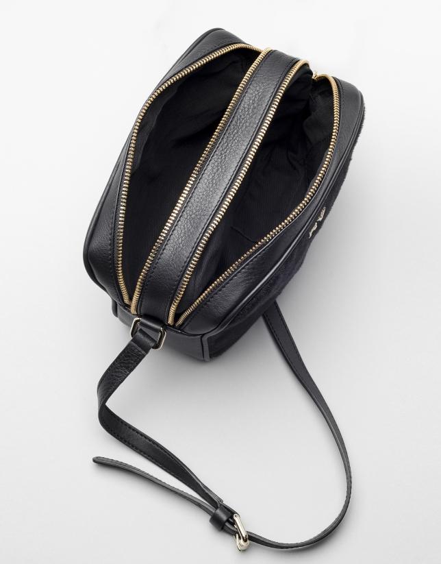 comprar original elige mejor garantía limitada Bolso bandolera Taylor en piel color negro | Roberto Verino