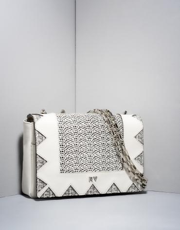 Bandoulière Teba en cuir blanc et noir