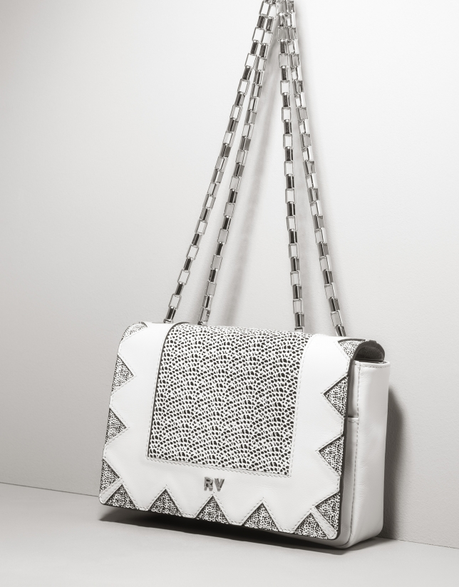 Black and white leather Teba shoulder bag