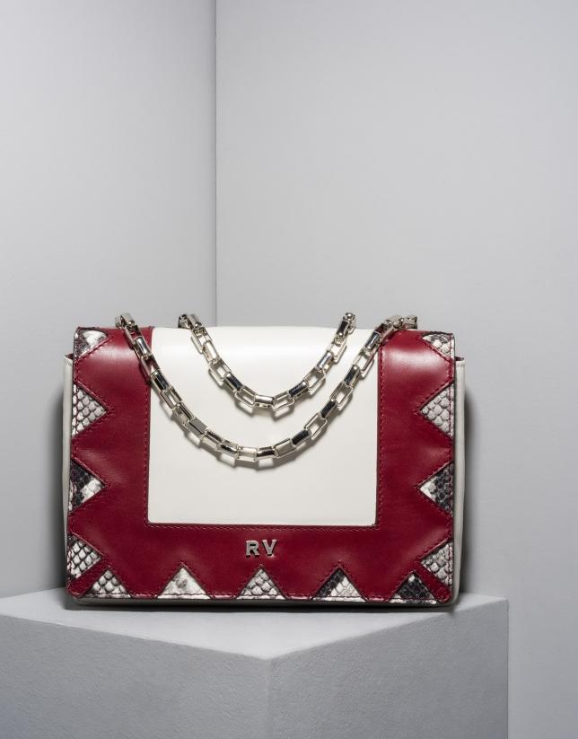 Red and beige leather Teba shoulder bag