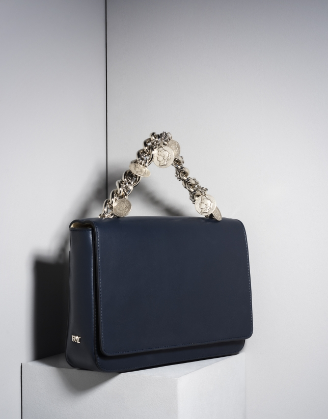 Bolso cartera Joyce en piel azul con cadenas