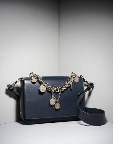 Sac portefeuille Joyce en cuir bleu avec des chainettes