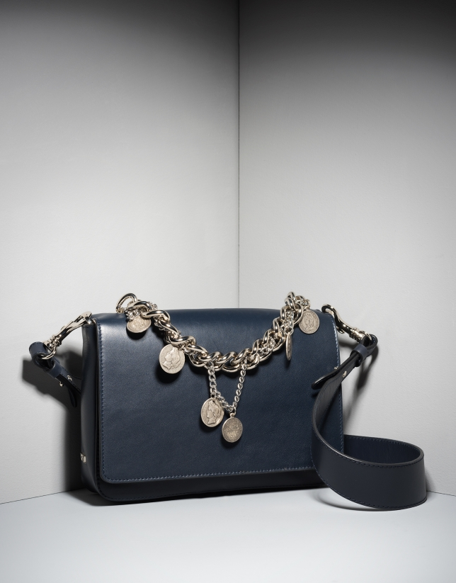 Blue leather Joyce billfold with chain