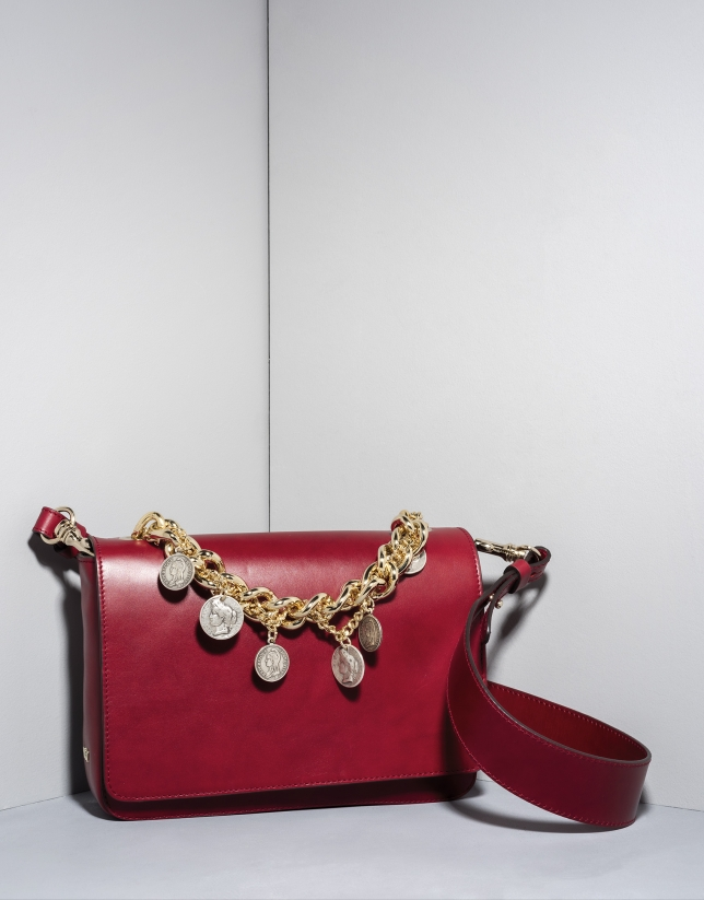 Red leather Joyce billfold with chain