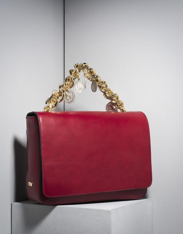 Sac portefeuille Joyce en cuir rouge avec des chainettes
