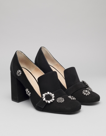 Black suede Renoir pumps