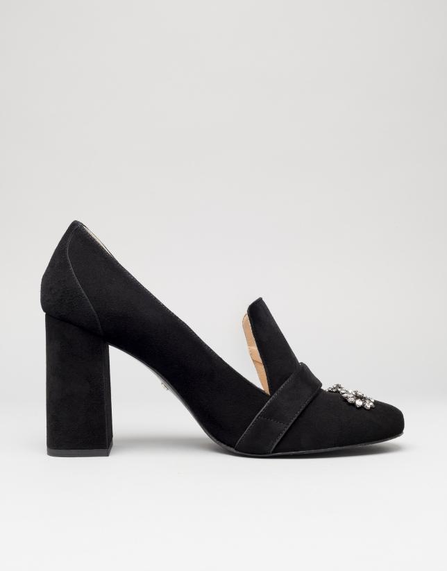 Zapato salón Renoir en ante negro