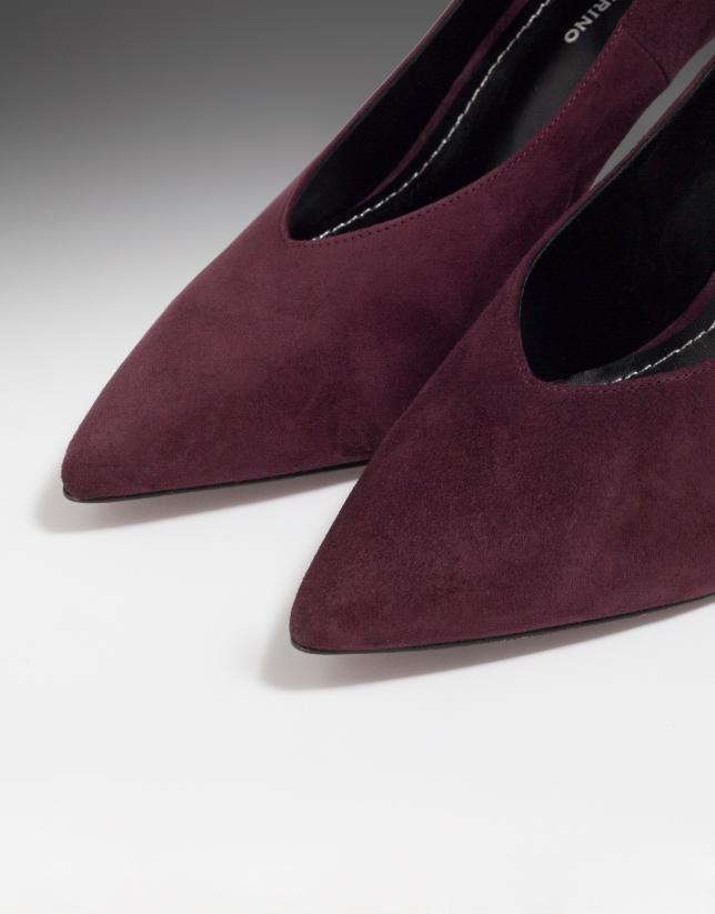 Zapato salón Matisse en ante burdeos con pulsera